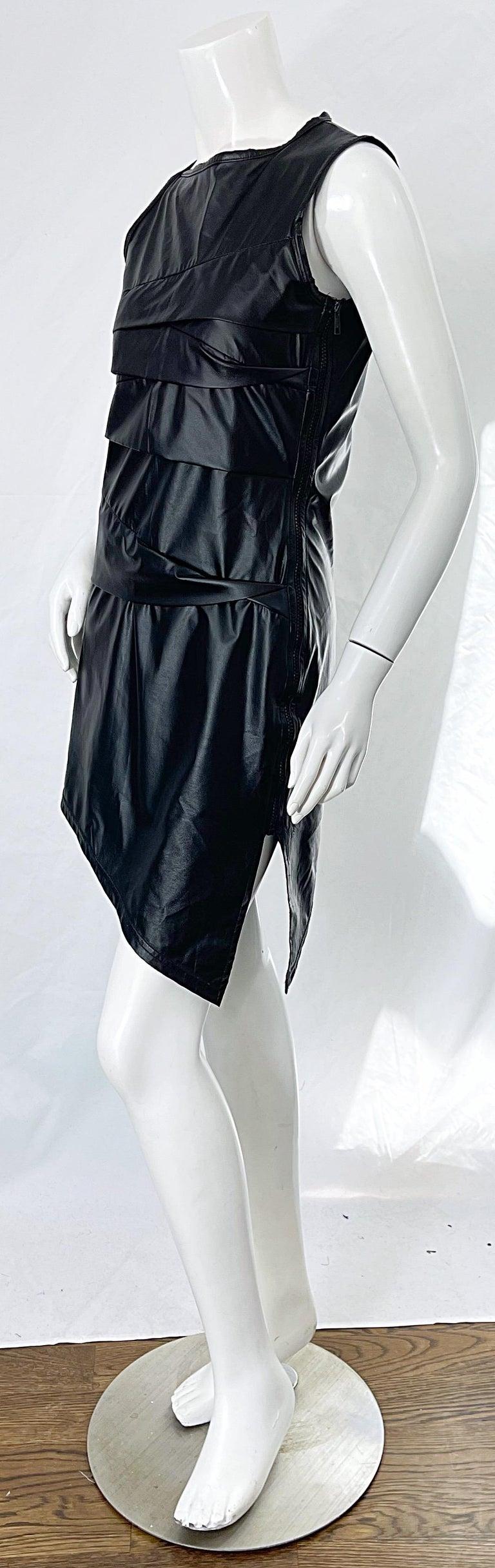 1990s Dexter Wong Club Kid Rave Japanese Black Pleather Vintage 90s Mini Dress For Sale 1