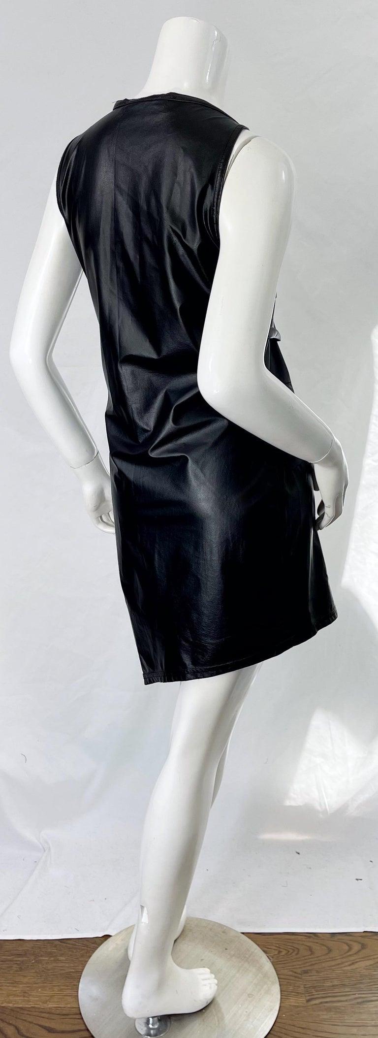 1990s Dexter Wong Club Kid Rave Japanese Black Pleather Vintage 90s Mini Dress For Sale 2