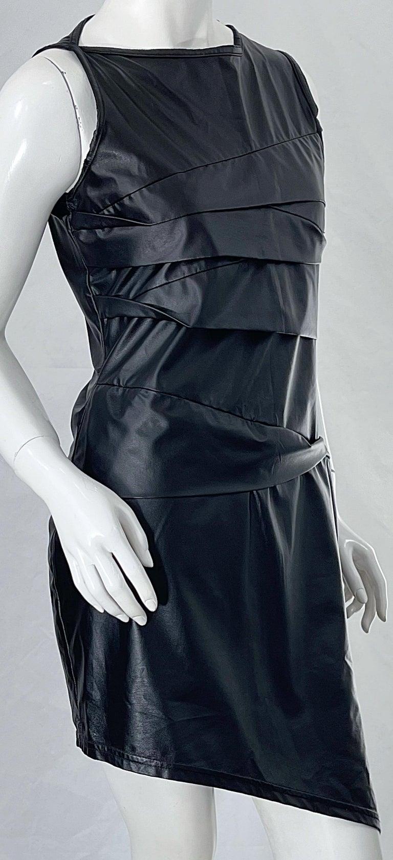 1990s Dexter Wong Club Kid Rave Japanese Black Pleather Vintage 90s Mini Dress For Sale 3