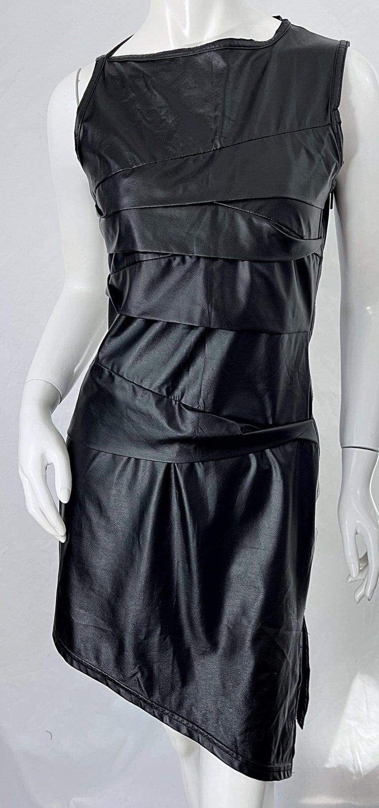 1990s Dexter Wong Club Kid Rave Japanese Black Pleather Vintage 90s Mini Dress For Sale 4