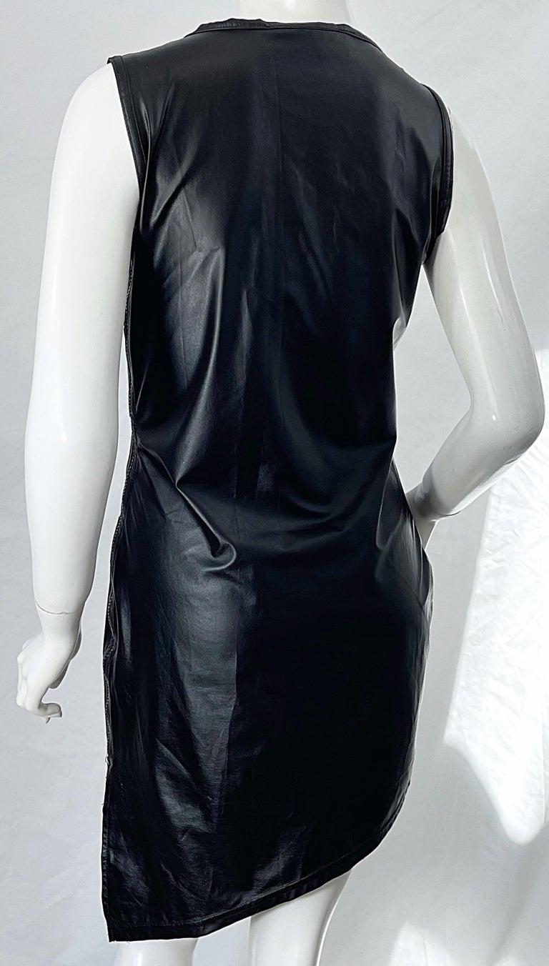 1990s Dexter Wong Club Kid Rave Japanese Black Pleather Vintage 90s Mini Dress For Sale 5