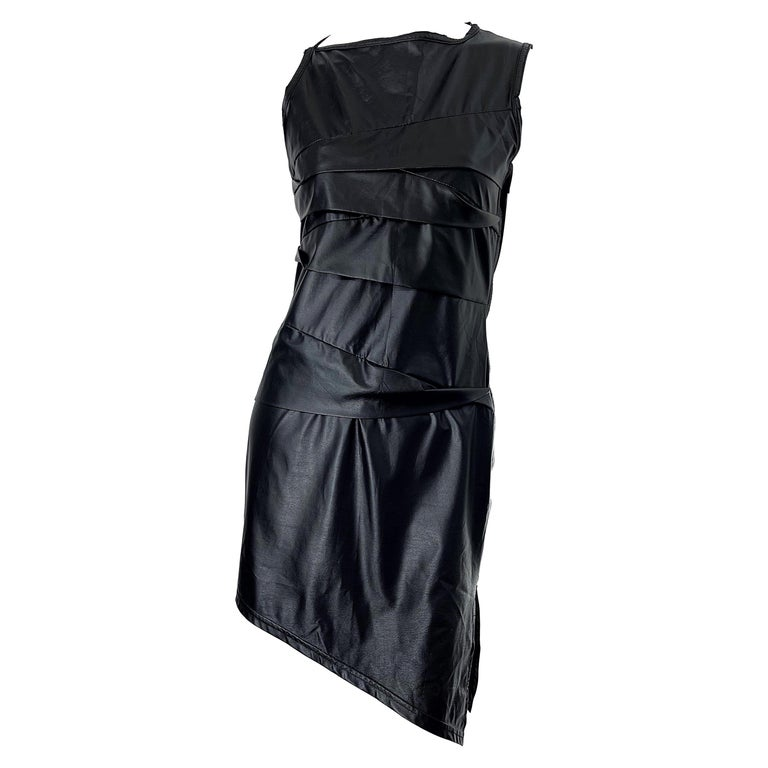 1990s Dexter Wong Club Kid Rave Japanese Black Pleather Vintage 90s Mini Dress For Sale