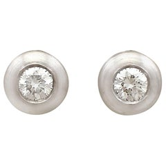 1990s Diamond and White Gold Stud Earrings