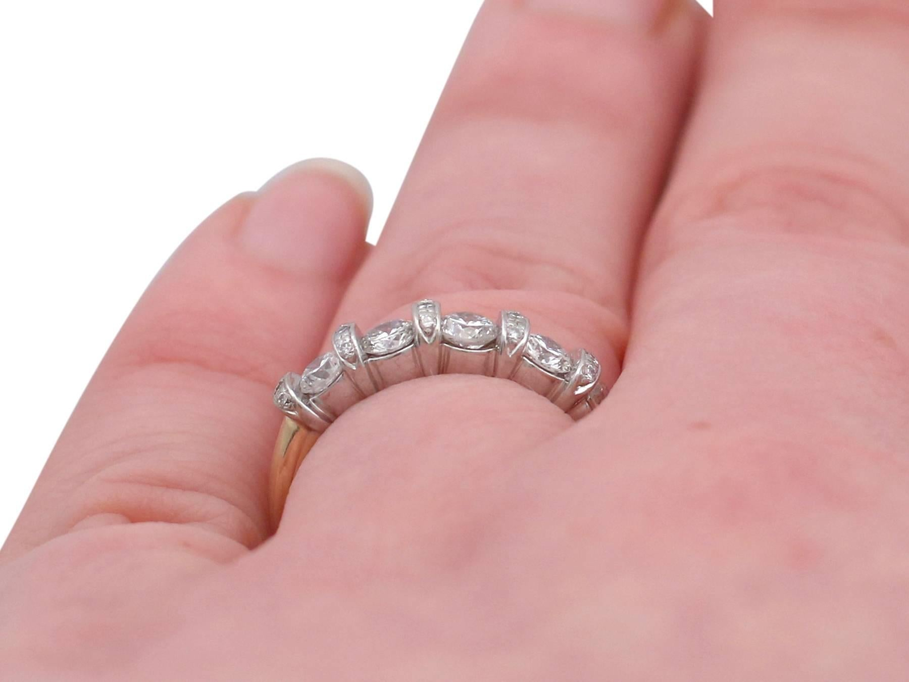 1990s Diamond and Yellow Gold Half Eternity Ring For Sale at 1stdibs