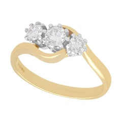 1990s Diamond and Yellow Gold Trilogy Twist Ring