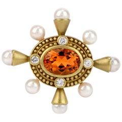 1990s Diamond Citrine and Pearl 18 Karat Gold Oval Pin Brooch