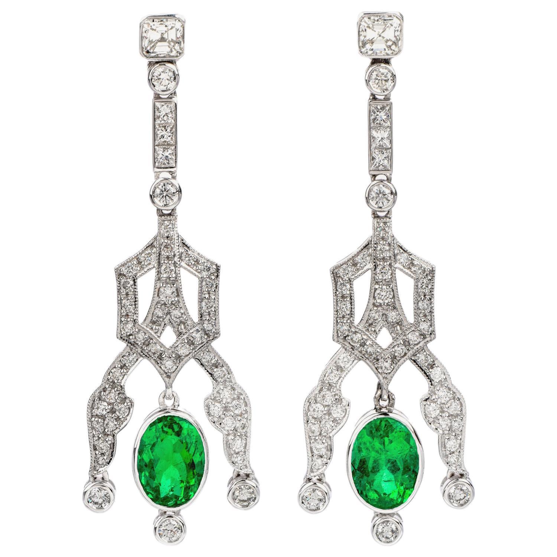 1990s Diamond Emerald 18 Karat Gold 6.22 Carat Oval Drop Dangle Earrings