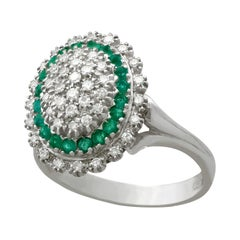 1990s Diamond and Emerald White Gold Cocktail Ring