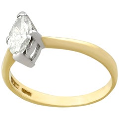 1990s Diamond Gold Solitaire Engagement Ring