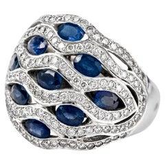 1990s Diamond Sapphire 18 Karat Dome Cocktail Ring