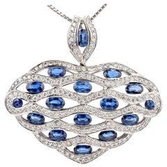 1990s Diamond Sapphire 18 Karat Heart Pendant Enhancers Necklace