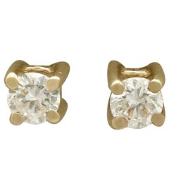 1990s Diamond Yellow Gold Stud Earrings