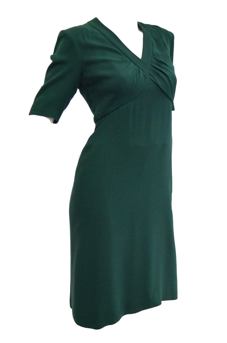 Black 1990s Dior Haute Couture Green Silk Cocktail Dress, Numbered For Sale