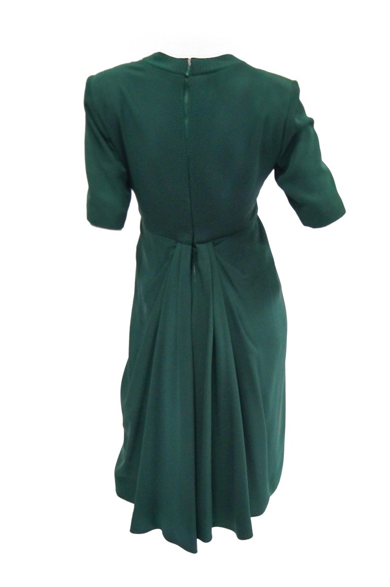 Women's 1990s Dior Haute Couture Green Silk Cocktail Dress, Numbered For Sale
