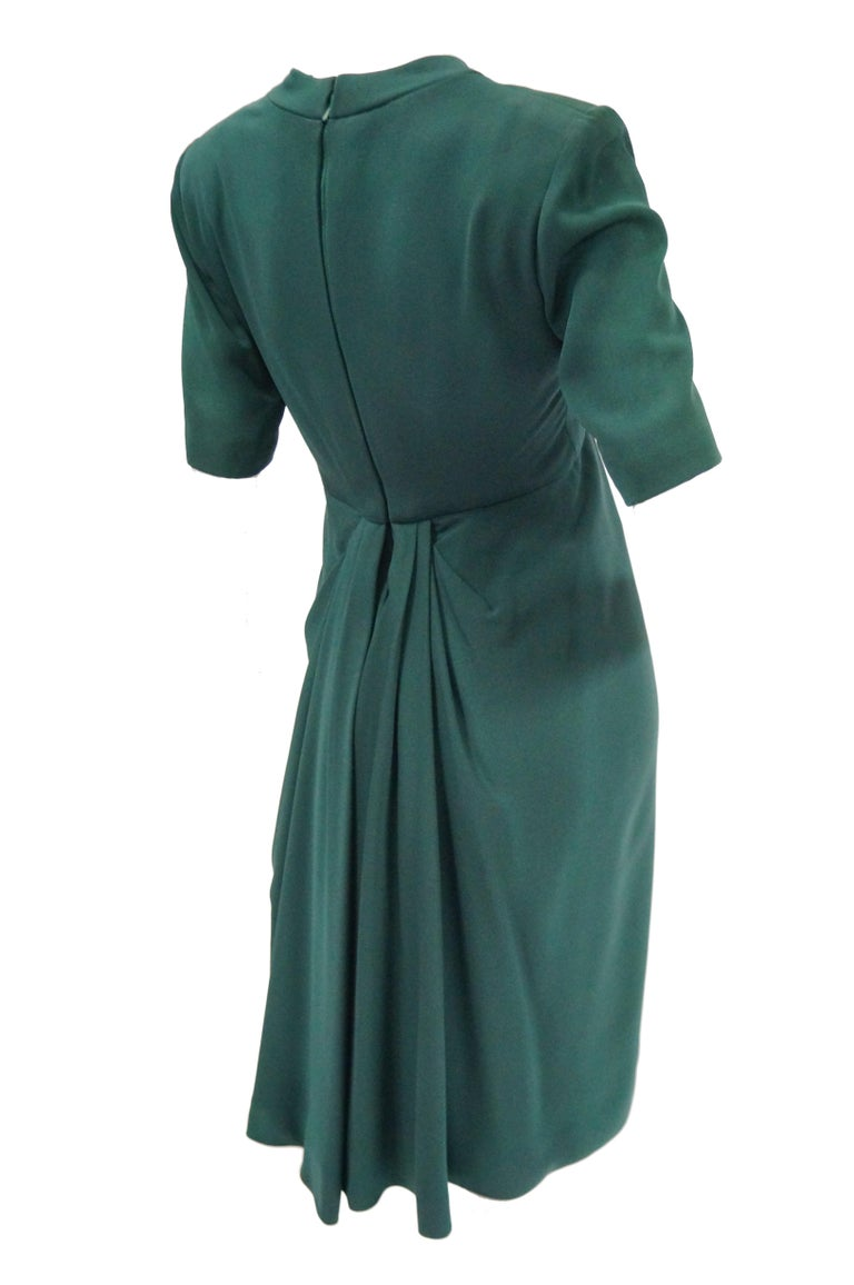 1990s Dior Haute Couture Green Silk Cocktail Dress, Numbered For Sale 1