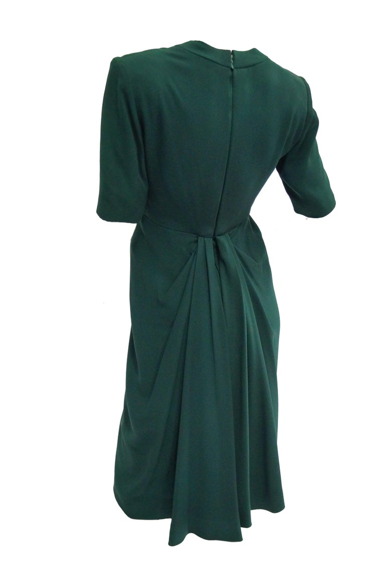 1990s Dior Haute Couture Green Silk Cocktail Dress, Numbered For Sale 2