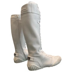 "1990s Dior ""J'Adior"" White Perforated Leather Wrestling-Style Boots - Never Worn"