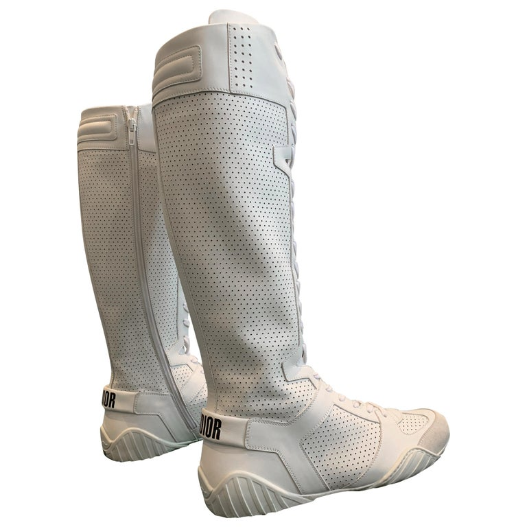 """1990s Dior """"J'Adior"""" White Perforated Leather Wrestling-Style Boots - Never Worn For Sale"""