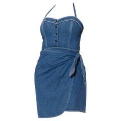 1990S DKNY DONNA KARAN Denim Cotton Pin-Up Bodysuit Wrap Skirt Dress