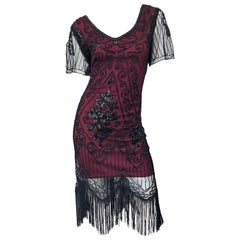 1990s Does 1920s Black and Red Burgundy Lace Beaded Fringe Vintage Flapper Dress