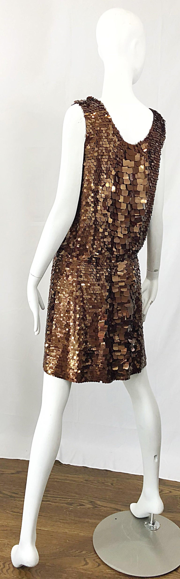1990s does 1920s Isaac Mizrahi Chocolate Brown Paillette Sequin Flapper Dress For Sale 6