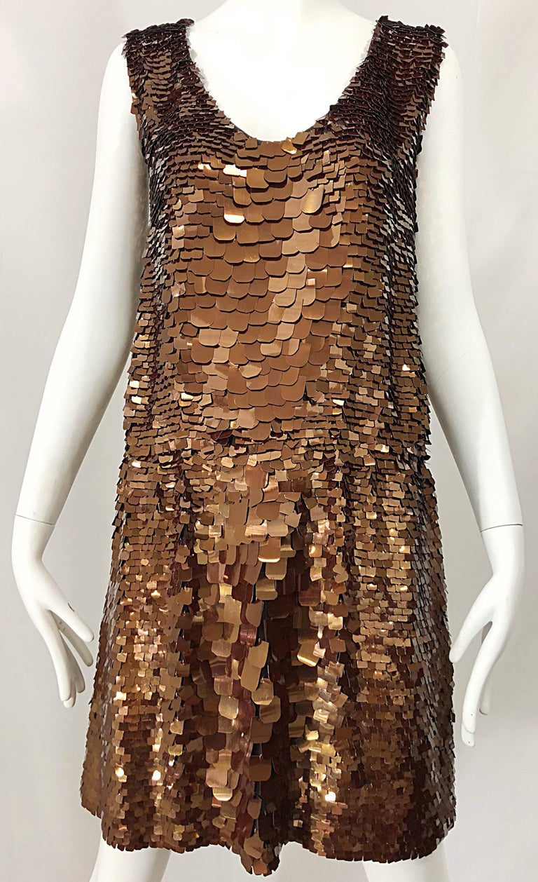 1990s does 1920s Isaac Mizrahi Chocolate Brown Paillette Sequin Flapper Dress For Sale 7