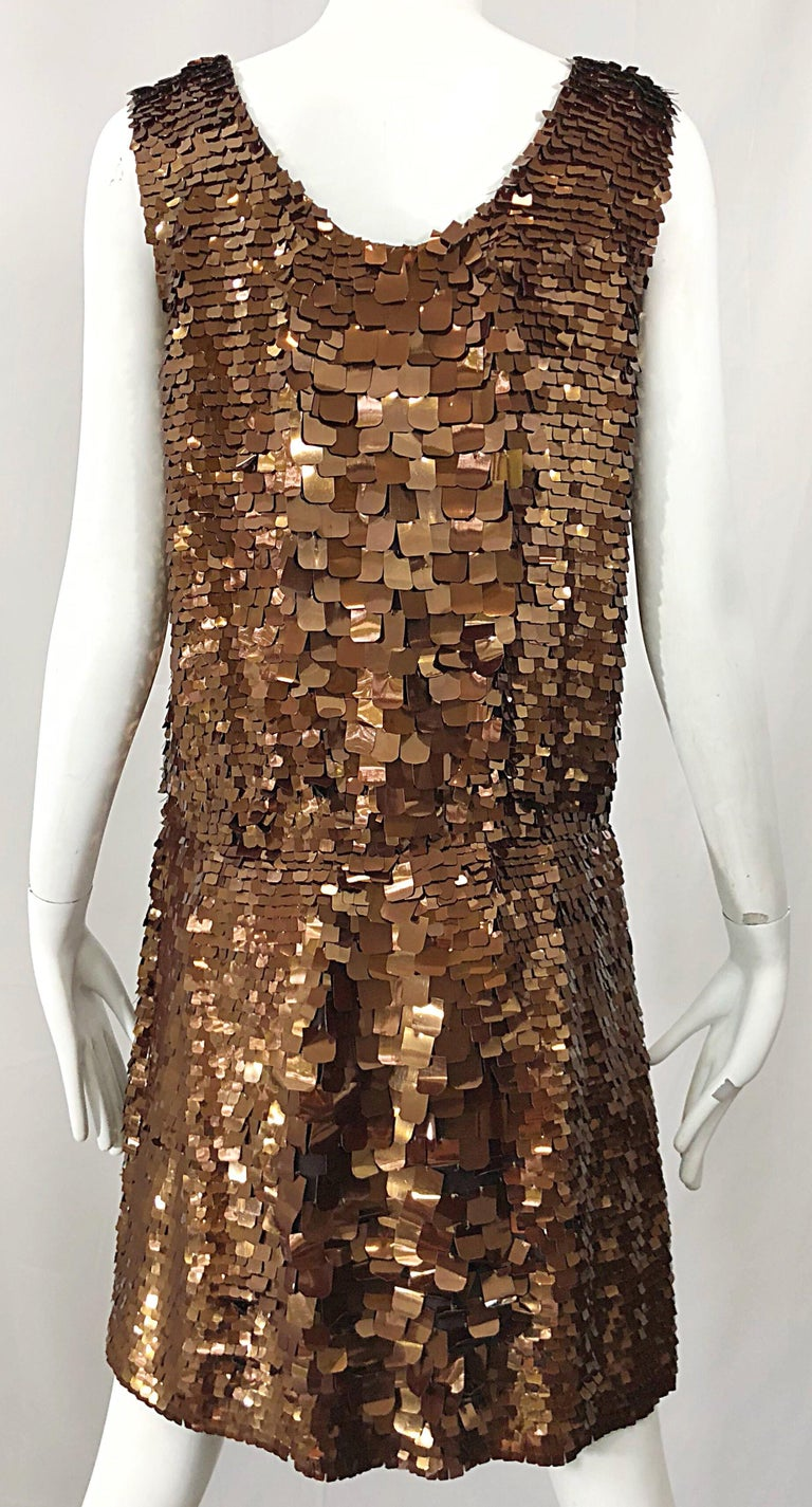 1990s does 1920s Isaac Mizrahi Chocolate Brown Paillette Sequin Flapper Dress For Sale 8