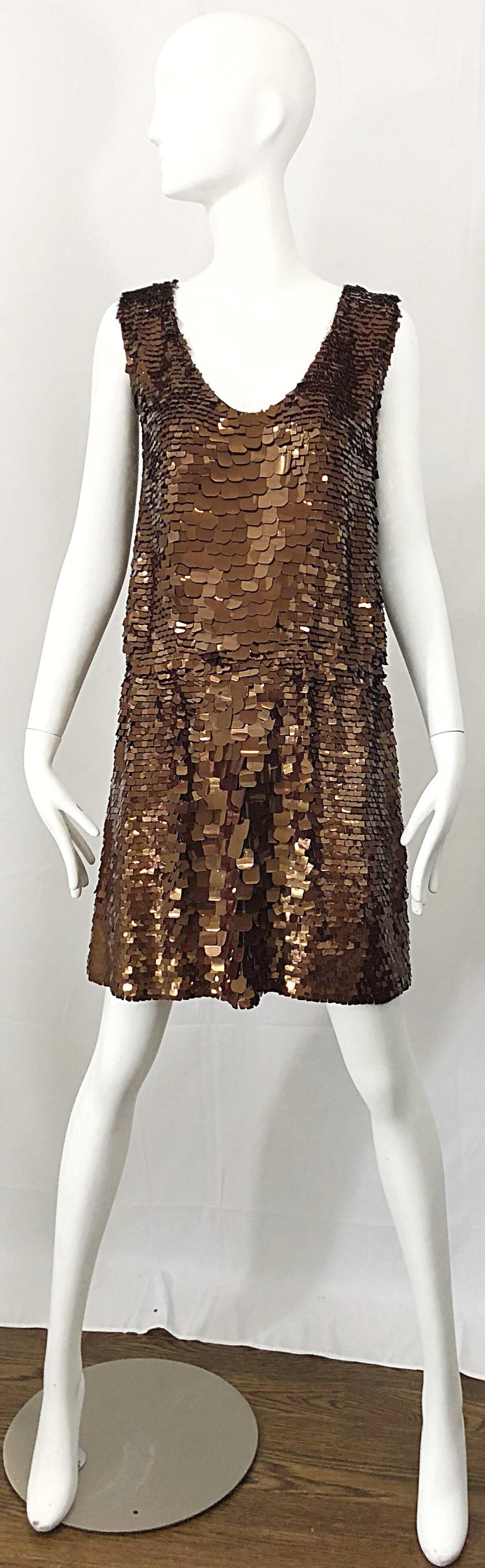 1990s does 1920s Isaac Mizrahi Chocolate Brown Paillette Sequin Flapper Dress For Sale 9