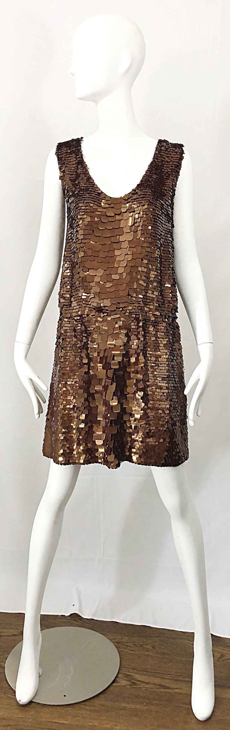 Amazing 90s does 20s ISAAC MIZRAHI chocolate brown sequined paillette encrusted silk Gatsby style flapper dress! Features thousands of hand-sewn brown paillettes in a variety of shapes and sizes. Elastic waistband stretches to fit. The perfect
