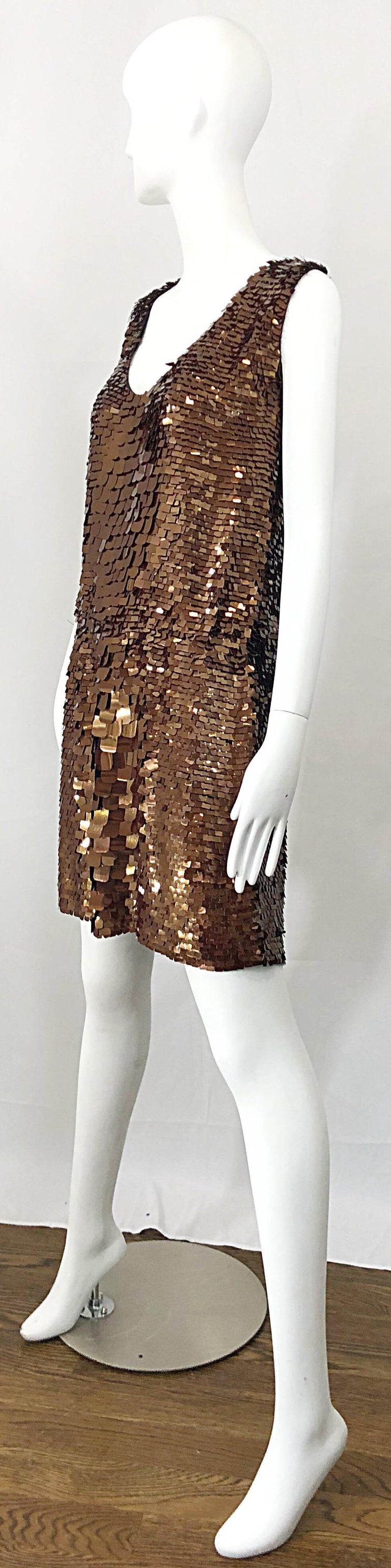Women's 1990s does 1920s Isaac Mizrahi Chocolate Brown Paillette Sequin Flapper Dress For Sale