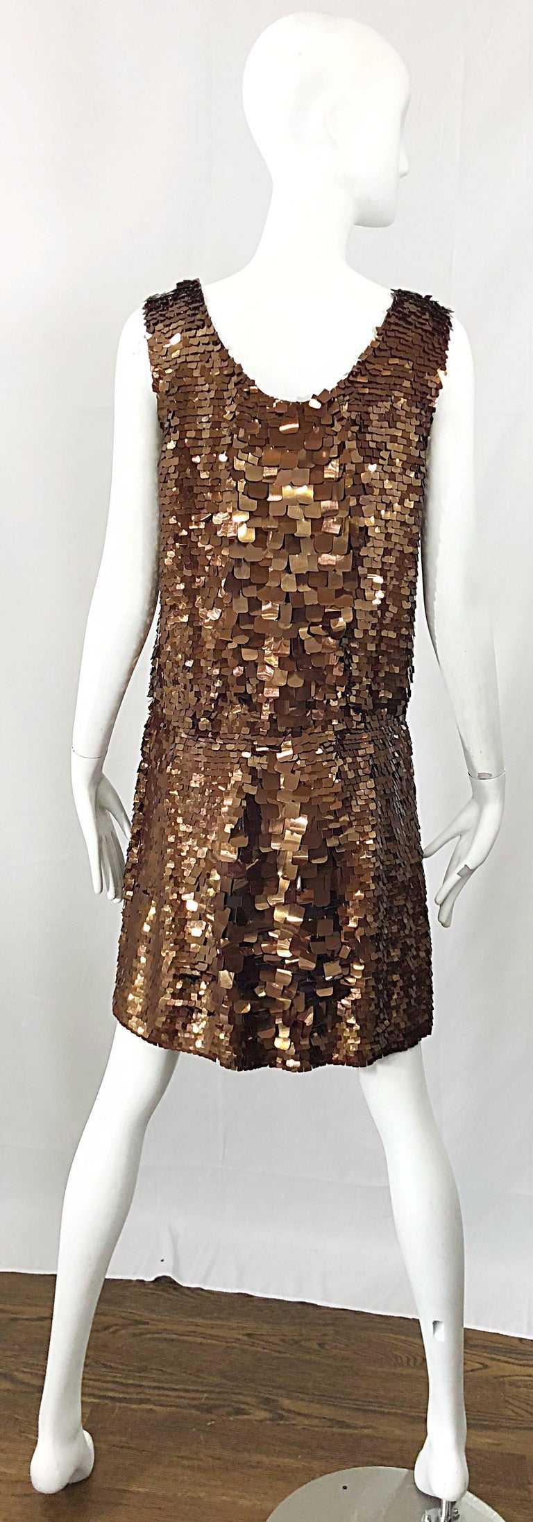1990s does 1920s Isaac Mizrahi Chocolate Brown Paillette Sequin Flapper Dress For Sale 1