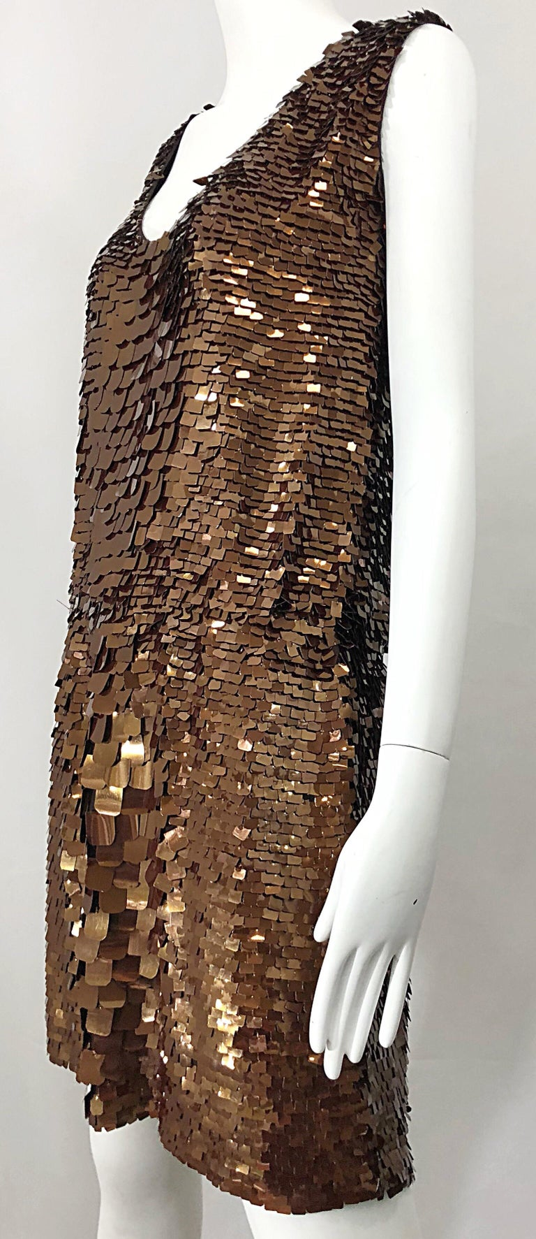 1990s does 1920s Isaac Mizrahi Chocolate Brown Paillette Sequin Flapper Dress For Sale 2