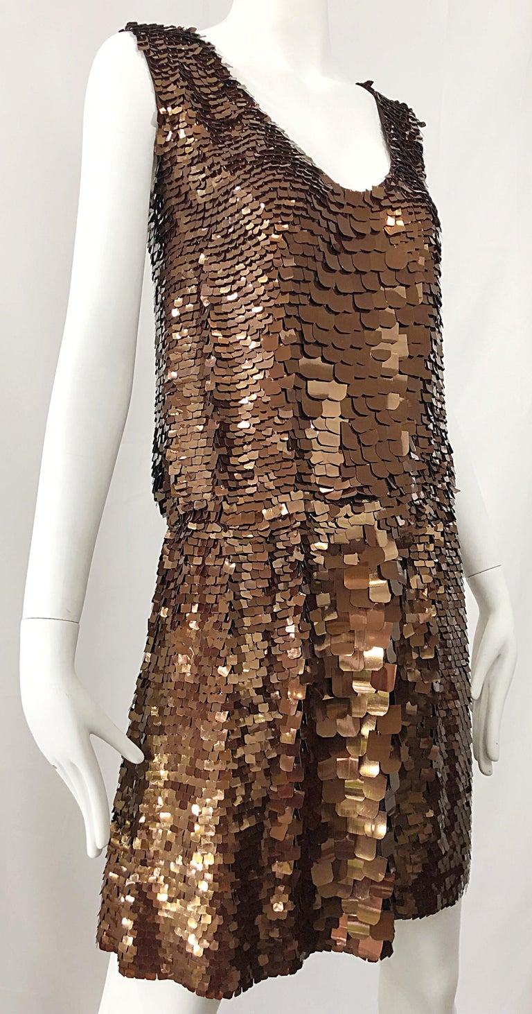 1990s does 1920s Isaac Mizrahi Chocolate Brown Paillette Sequin Flapper Dress For Sale 3