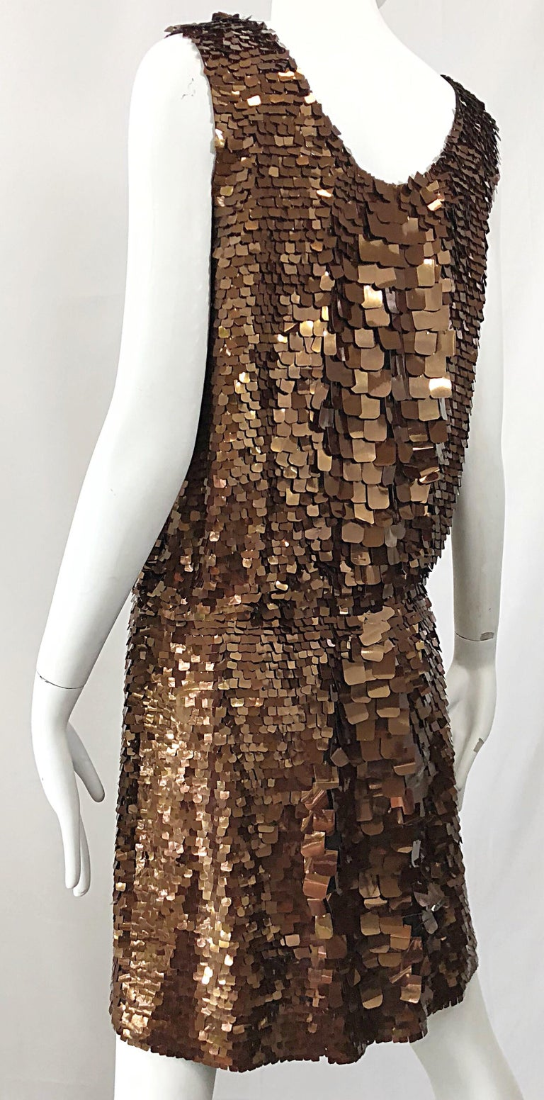 1990s does 1920s Isaac Mizrahi Chocolate Brown Paillette Sequin Flapper Dress For Sale 4