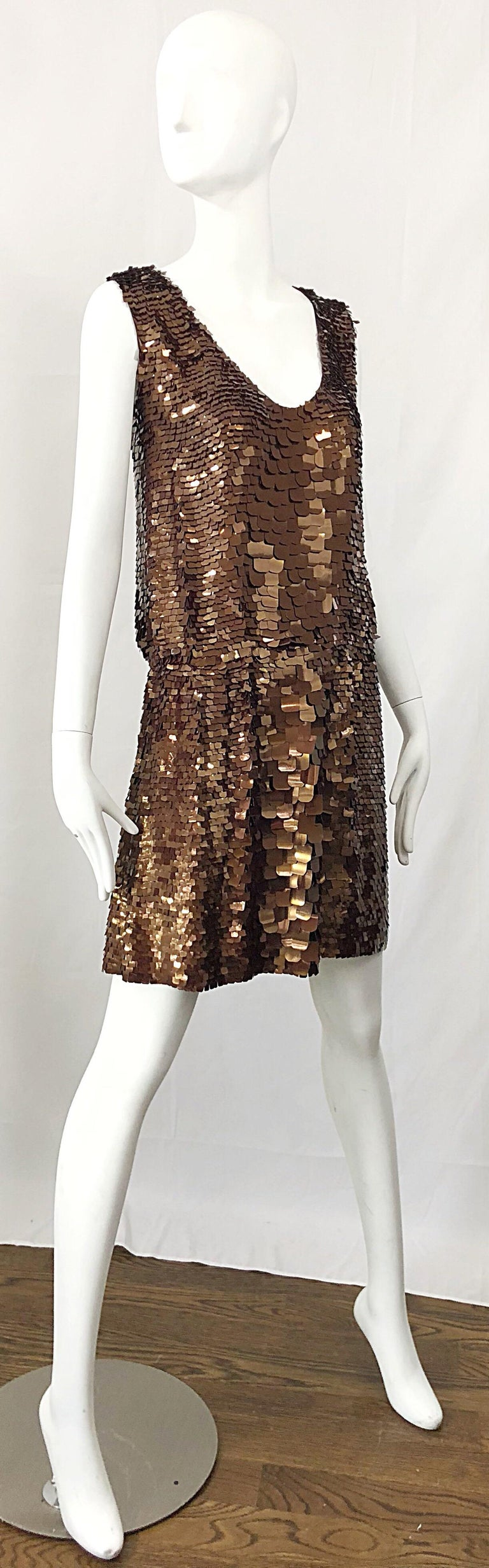1990s does 1920s Isaac Mizrahi Chocolate Brown Paillette Sequin Flapper Dress For Sale 5