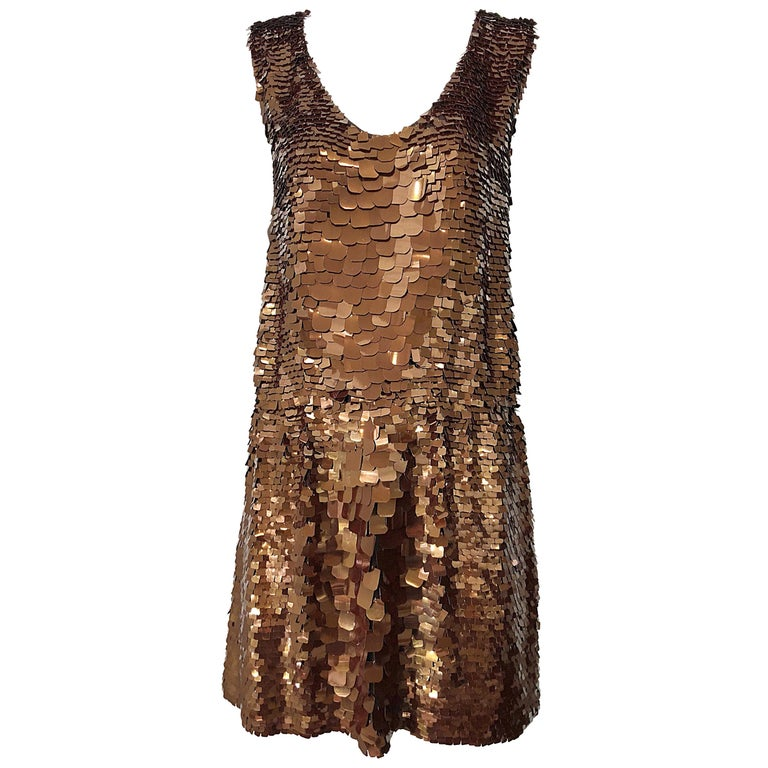 1990s does 1920s Isaac Mizrahi Chocolate Brown Paillette Sequin Flapper Dress For Sale