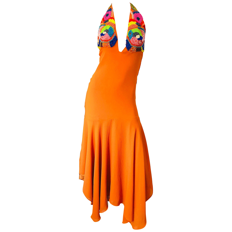 1990s Does 1970s Bright Orange Beads Crepe Chiffon Handkerchief Hem Halter Dress