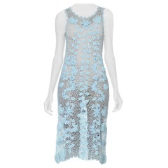1990S Baby Blue Rayon & Lurex Hand Crochet Lace Dress