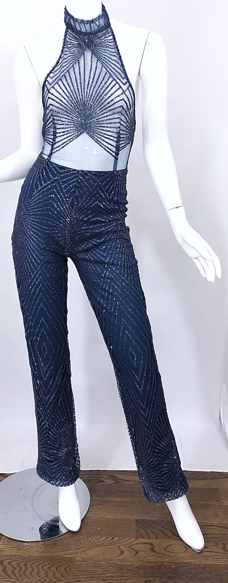 1990s Does 1970s Navy Blue Sheer Mesh Glitter Vintage 90s Sexy Halter Jumpsuit For Sale 6