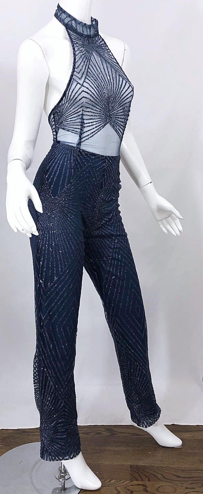 1990s Does 1970s Navy Blue Sheer Mesh Glitter Vintage 90s Sexy Halter Jumpsuit For Sale 9
