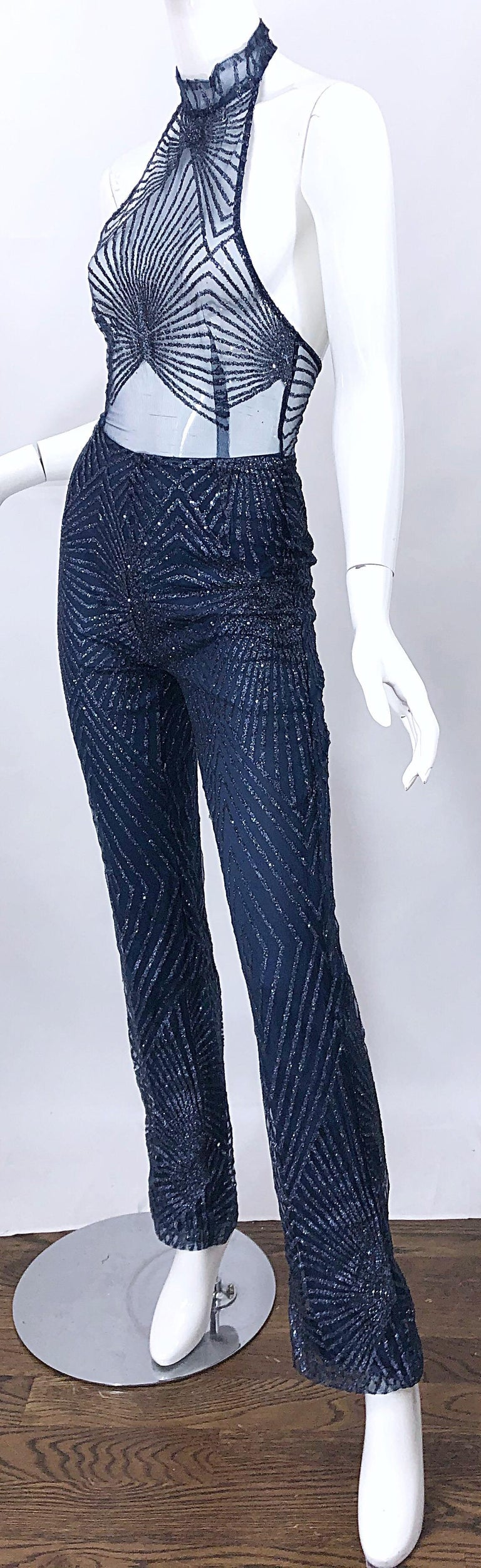 1990s Does 1970s Navy Blue Sheer Mesh Glitter Vintage 90s Sexy Halter Jumpsuit For Sale 11