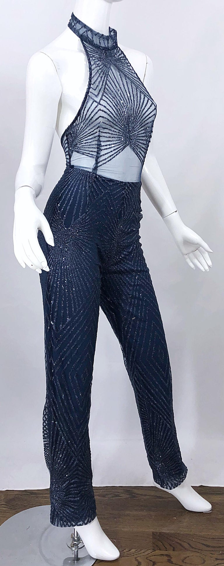 1990s Does 1970s Navy Blue Sheer Mesh Glitter Vintage 90s Sexy Halter Jumpsuit For Sale 3