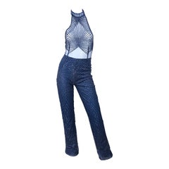 1990s Does 1970s Navy Blue Sheer Mesh Glitter Vintage 90s Sexy Halter Jumpsuit