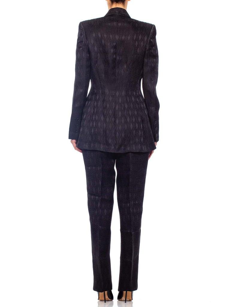 1990'S RICHARD TYLER Black Silk Couture Peak Lapel Pant Suit For Sale 7