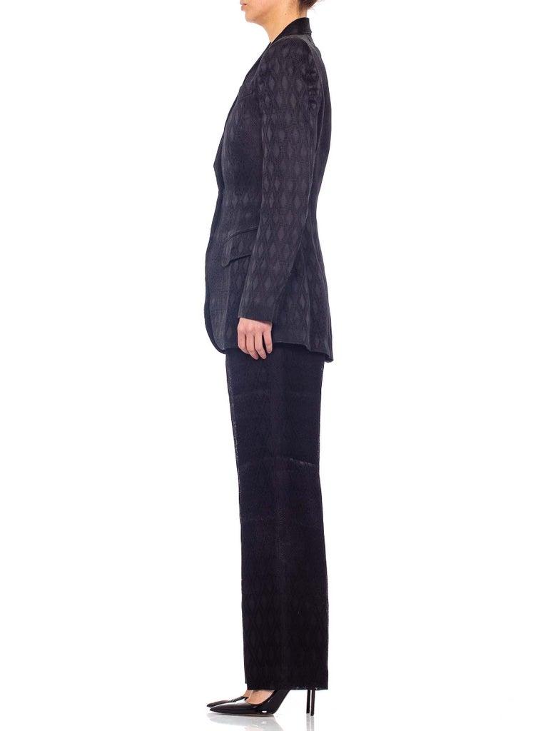 Women's 1990'S RICHARD TYLER Black Silk Couture Peak Lapel Pant Suit For Sale