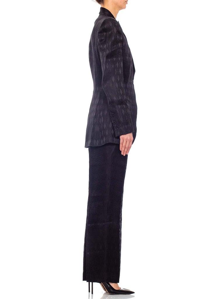 1990'S RICHARD TYLER Black Silk Couture Peak Lapel Pant Suit For Sale 1