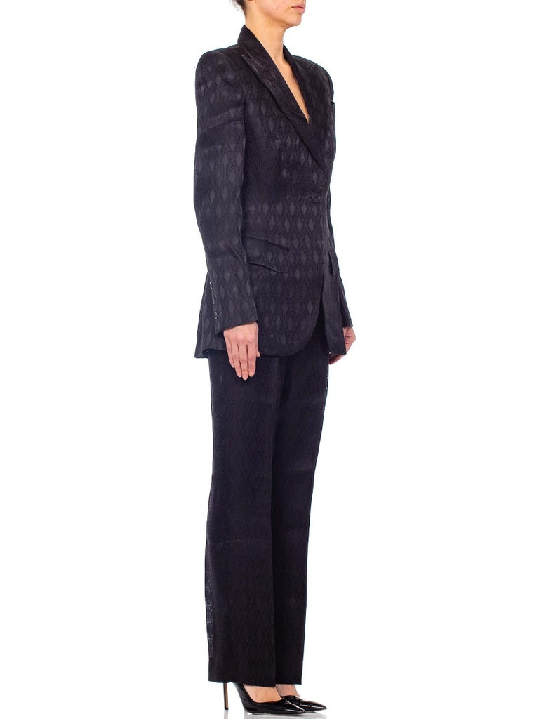 1990'S RICHARD TYLER Black Silk Couture Peak Lapel Pant Suit For Sale 2