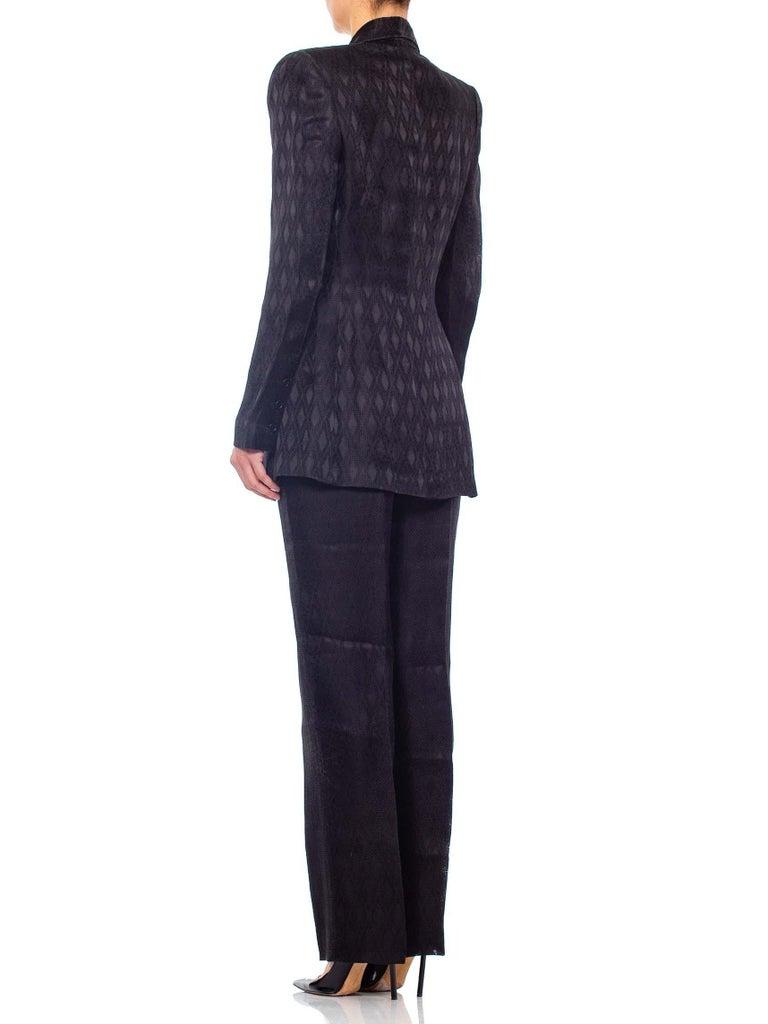 1990'S RICHARD TYLER Black Silk Couture Peak Lapel Pant Suit For Sale 3