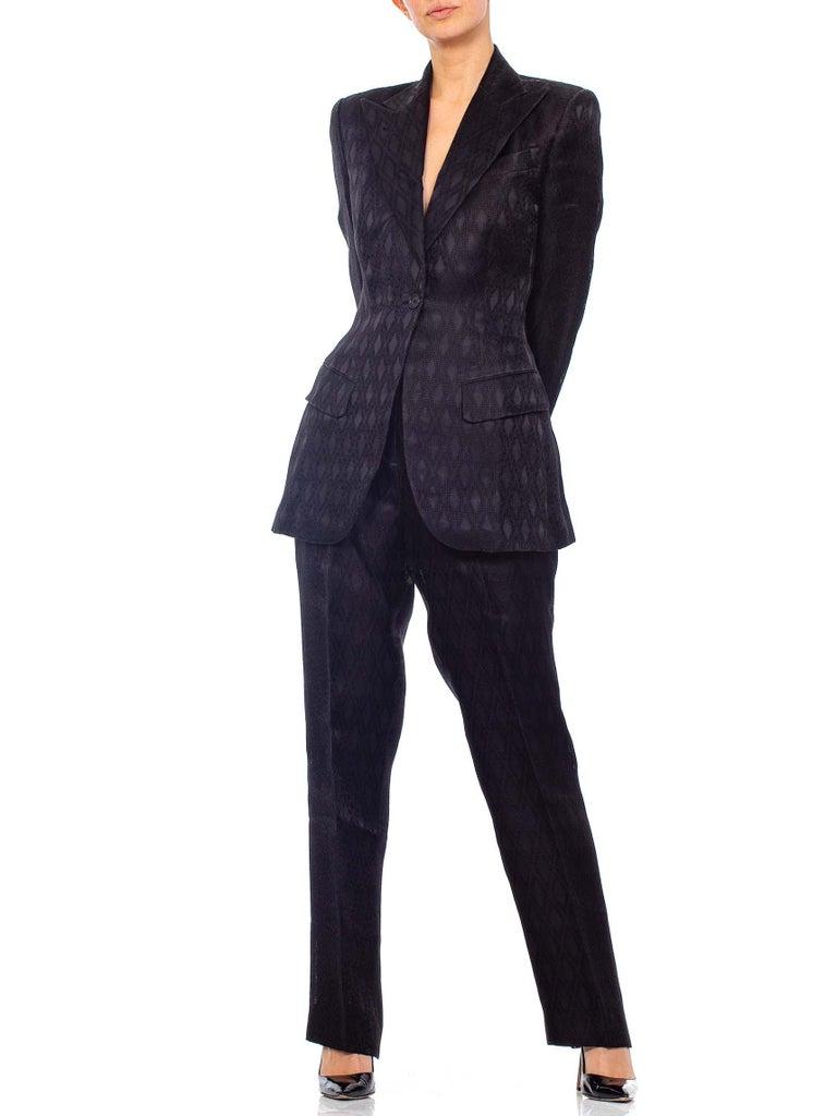 1990'S RICHARD TYLER Black Silk Couture Peak Lapel Pant Suit For Sale 4