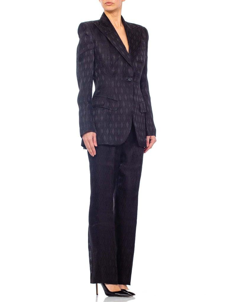 1990'S RICHARD TYLER Black Silk Couture Peak Lapel Pant Suit For Sale 5